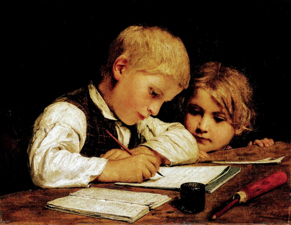 CH463062 Boy writing with his sister, 1875 (oil on canvas) by Anker, Albert (1831-1910